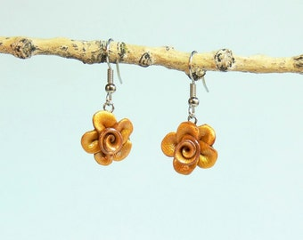 Rose Floral Earrings - 1DD - Shining Gold - Polymer Clay - (DAYSTAR) Katherine Kowalski jewelry