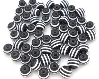 50 Black White Stripe Acrylic Beads resin stripes 6mm (H2399)
