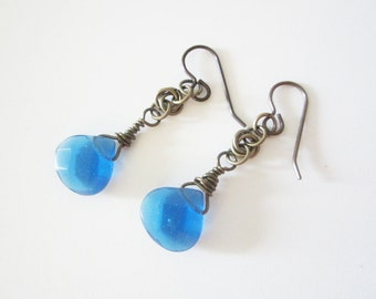 Gunmetal Wire Wrapped Blue Glass Mobius Chainmaille Earrings Handmade