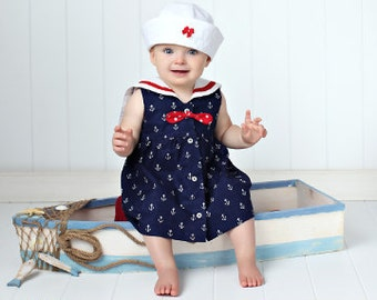 Baby Sailor Dress Sewing Pattern - Instant Download PDF - Sailor Collar