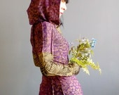 A Lover Sings - iheartfink Handmade Hand Printed Mixed Prints Purple Metallic Gold Long Sleeve Hood Jersey Dress