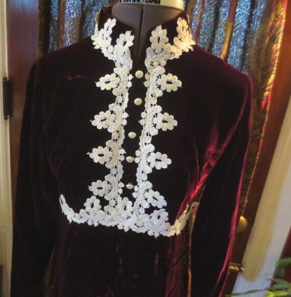 Vintage 1960s MOD Burgundy Red Velvet Mini Dress S