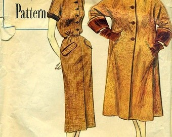 Simplicity Designer's Pattern 8319 -  c.1950 - Dress and Long Coat Ensemble