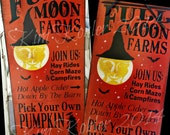 Full Moon Pumpkin Farm Witch Wood Sign Board Halloween Primitive Wicca Harvest Fall Orange Black