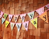 Happy Birthday Bunting Flags.  A Unique Party Decoration.  You Receive Two Flag Buntings, Two Sided, More Value...