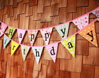 CUSTOM Happy Birthday Banner Bunting Party Flags. A Unique