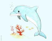 Dolphin painting, Children's Wall Art Print, D is for Dolphin, ocean themed nursery, ABC, kids room art, Watercolor painting