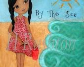 Beach Decor, Art Print, Mixed Media, Childrens Art, African American, Ethnic Art, Print Size 8 x 10 by HRushton