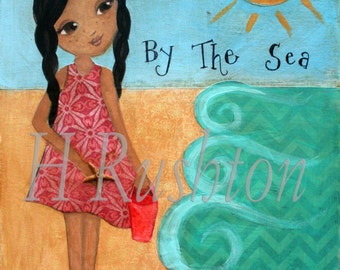 Beach Decor, Art Print, Mixed Media, Childrens Art, African American, Ethnic Art, Print Size 8 x 10 and 5x7 by HRushton