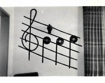 vintage photo  Details about  Musical Notes Vinyl Records Make Scale G Clef Abstract ART on 1950s wall