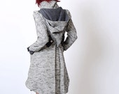 Grey Womens coat - Assymetrical coat with Goblin Hood and tall collar - vintage woven fabric and wool - Malam