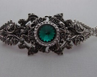 Emerald green Holiday Large Vintage Victorian style Handcrafted hair barrette