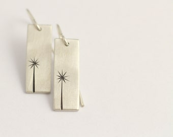 Drop Earrings in Sterling Silver with Cabbage Trees
