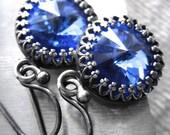 Bright Cobalt Blue Crystal Earrings, Swarovski Sapphire Blue Rivoli Crystals, Antiqued Silver Crown Bezel, Vintage Style Bridesmaid Jewelry