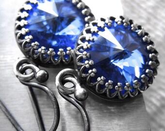 Bright Cobalt Blue Crystal Earrings, Swarovski Sapphire Blue Rivoli Crystals, Antiqued Silver Bezel, Vintage Style Bridesmaid Jewelry