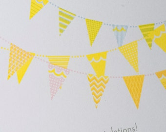 Hand-printed Congratulations card -- Flag Bunting