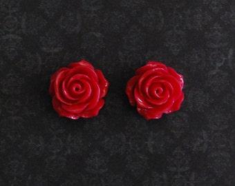Magenta Rose Flower Girly Plugs - 4g, 2g, 0g, 00g