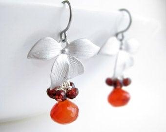 Red Orange Dangle Earrings - July birthstone, orange carnelian drop, red garnet cluster gemstone, silver bridesmaid gift - Dogwood Flower