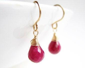 Genuine Ruby Earrings - July birthstone, 14k gold filled red small gemstone drop, nickel free, bridesmaid earrings