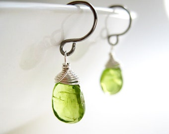 Peridot Drop Earrings, Lime Green Jewelry, August Birthstone, simple earrings available in Gold, Silver and Bronze finish