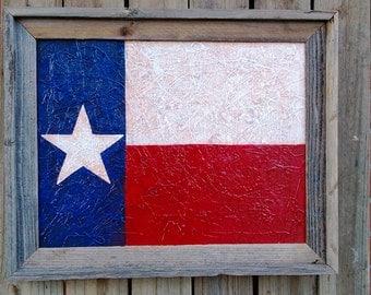 Texas Flag Rustic Artist Painting