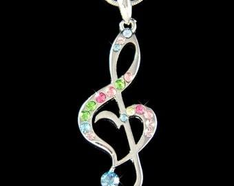 Swarovski Crystal Rainbow TREBLE G CLEF Love Music Musical Note Heart Pendant Necklace Best Friend Musician Christmas Birthday Gift  Cute