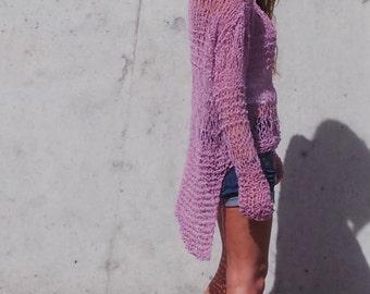 Pink sweater Loose Knit pink lightweight  grunge sweater
