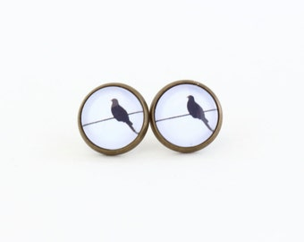 Bird Earrings - Post Earrings - Black and White - Bird Jewelry - Fun Gift - Whimsical Jewelry - Gift For Girl - Black and White Earrings