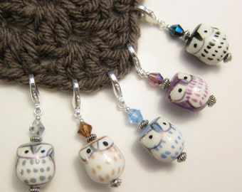 5 Stitch Markers - Coolest Owls