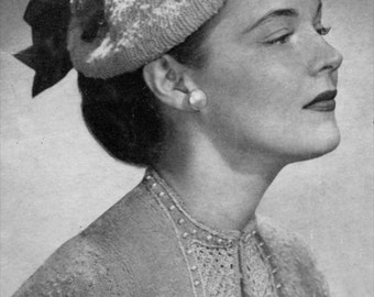The Flowered Hat - 1940s Vintage Knitted Hat Pattern - PDF eBook