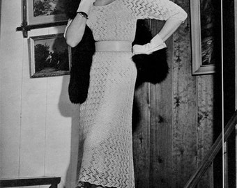 1950s Vintage Knitted Lace Dress Pattern - Digital PDF E-Book