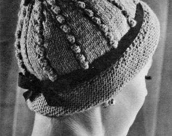 Popcorn Cloche - 1960s Hat Pattern - Vintage Knitting - PDF eBook