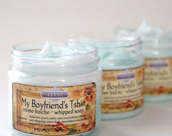 Whipped Soap Fresh Linen Scent My Boyfriends Tshirt 2 oz Mini Creme Fraiche Trial Sample Size VEGAN