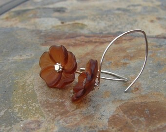 Lucite Flower Earrings Chocolate Brown Sterling Silver