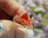 Orange Navette-Marquise Vintage Crystal Hand Crafted Ring Wire Wrapped Original Signature Design Fine Jewelry