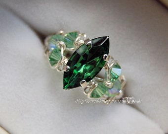 Tourmaline Forest Green Swarovski Navette-Marquise Hand Crafted Ring Wire Wrapped Original Signature Design Fine Jewelry