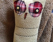 corduroy and plaid owl pillow / doll