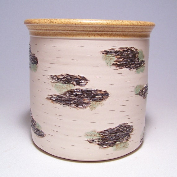 Birch Bark design  Pottery Utensil Holder Limited Series 54 (wide)