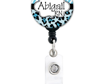 Badge Holder - Personalized Leopard Cheetah Zebra - Choice of Colors - Retractable Badge Reel