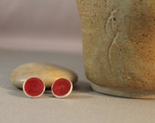 Intense Red Resin Stud Earrings