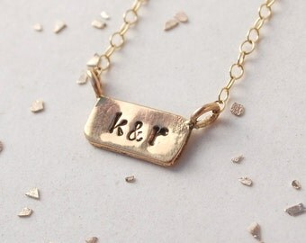 itty bitty bar custom initial monogram date necklace