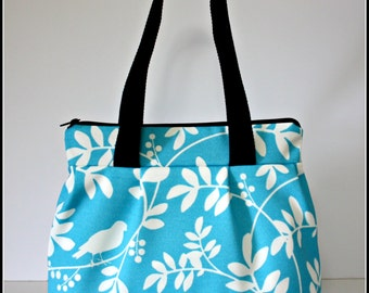 Blue and White Birds and Branches Pleated Handbag