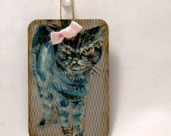 Cat Art - Whimsical Art -  Are You Looking At Me - Original - 2x3  Miniature Cat Painting - Door Guard - Kids Room Wall Art - Hostess Gift