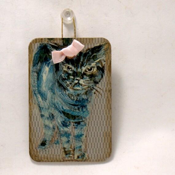 Cat Art - Whimsical Art -  Are You Looking At Me - Original - 2x3  Miniature Cat Painting - Door Guard - Kids Room Wall Art - Hostess Gift