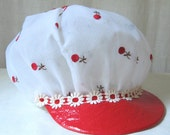 Mod Hat Newsboy Cap Cabbie Hat Red & White Floral Hat Applejack Hat 60s 70s