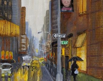 SALE - I Love New York in the Rain - Original Painting 8x8 Rain Shopping Night Reflections Yellow