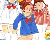 Betsey Johnson Pattern kids designer Nautical sailor outfits dress top and pants vintage sewing pattern Butterick 5280 Sz 5 Uncut