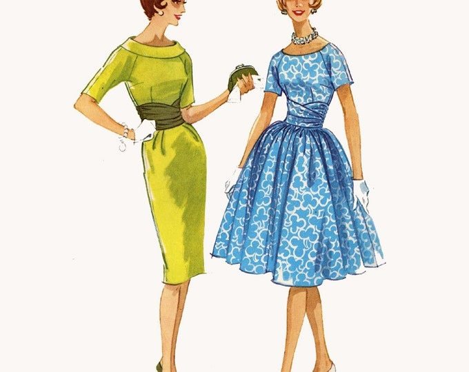 60s Rockabilly bridesmaid dress full or slim wiggle dress cocktail dress Vintage sewing pattern McCalls 5810 Bust 36