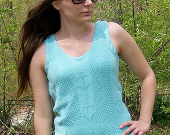 Vintage 80s ANCHOR Sweater Tank, Sea Foam Green, Nautical Top