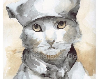 Cat Art, cat watercolor painting- cat watercolor print- Les Mews, french kitty, children, decor,nursery art